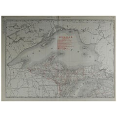 Large Original Antique Map of Michigan by Rand McNally, circa 1900