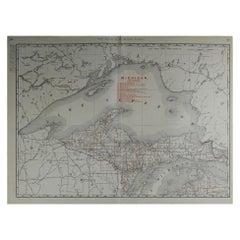 Large Original Antique Map of Michigan by Rand McNally, circa 1900