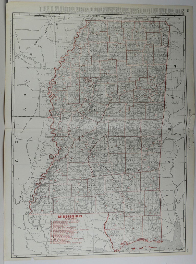 Fabulous monochrome map with red outline color   Original color  By Rand, McNally & Co.  Published, circa 1900  Unframed  Repairs to minor edge tears.