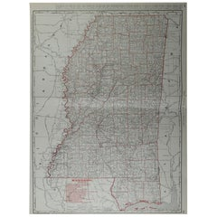Large Original Antique Map of Mississippi by Rand McNally, circa 1900