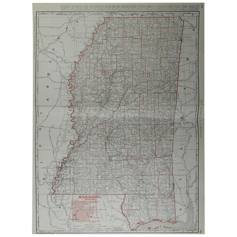 Large Original Antique Map of Mississippi by Rand McNally, circa 1900 For Sale