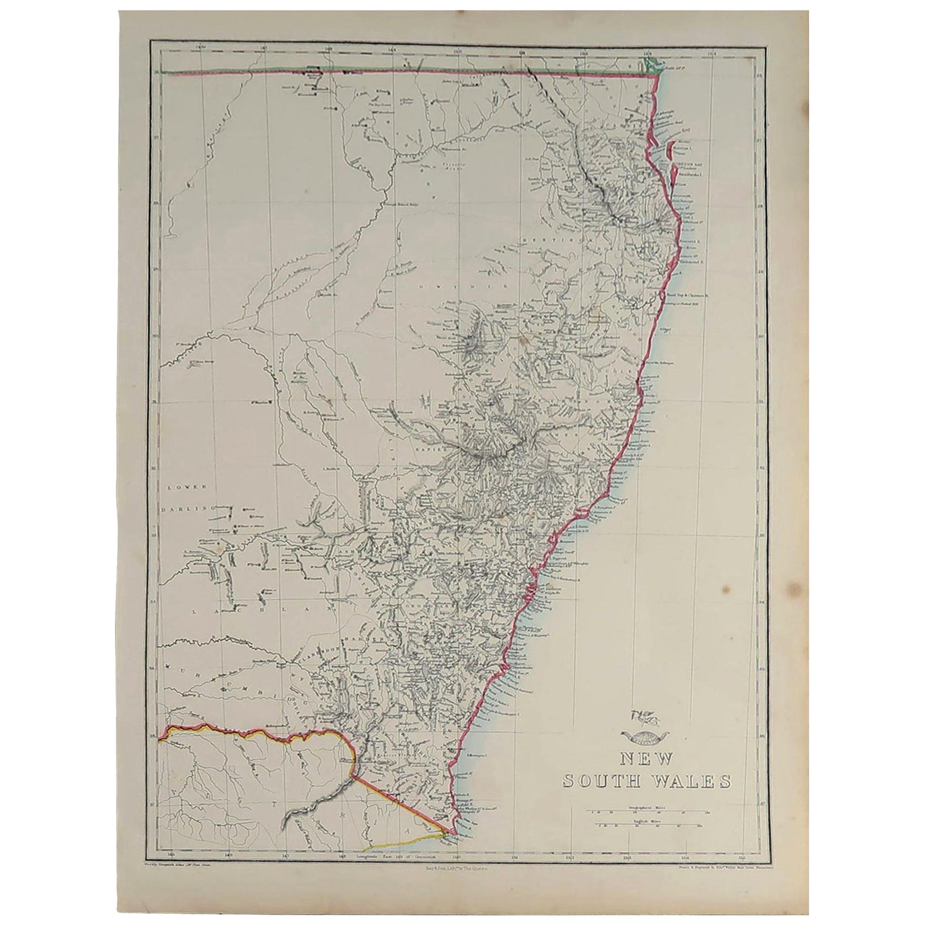 Large Original Antique Map of New South Wales, Australia, 1861