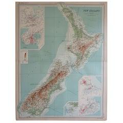Large Original Antique Map of New Zealand by Bartholomew, circa 1920