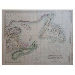 Large Original Antique Map of Newfoundland, Nova Scotia &c. Fullarton, C.1870