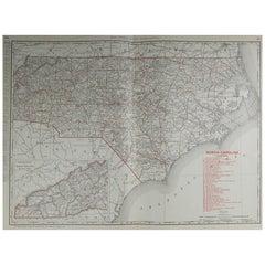 Large Original Antique Map of North Carolina by Rand McNally, circa 1900