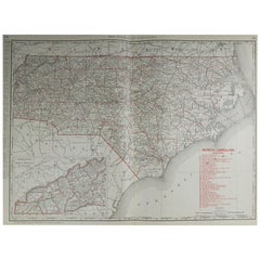 Large Original Antique Map of North Carolina by Rand McNally, circa 1900