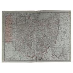 Large Original Antique Map of Ohio by Rand McNally, circa 1900