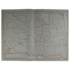 Large Original Antique Map of Oklahoma by Rand McNally, circa 1900