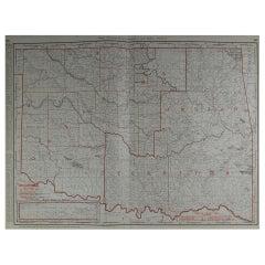 Large Original Antique Map of Oklahoma by Rand McNally, circa 1900