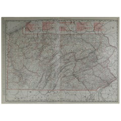 Large Original Antique Map of Pennsylvania by Rand McNally, circa 1900