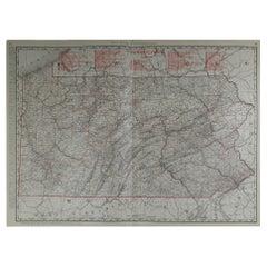 Large Original Antique Map of Pennsylvania by Rand McNally, circa 1900