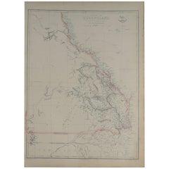 Large Original Antique Map of Queensland, Australia, 1861