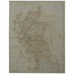 Large Original Antique Map of Scotland, circa 1770
