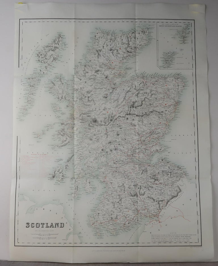 Great map of Scotland  Original color  Engraved by Swanston, Edinburgh  Published by Fullarton, Edinburgh circa 1870  Unframed.  A couple repairs to minor edge tears.