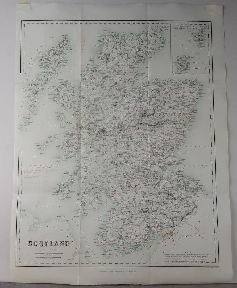 Georgian Large Original Antique Map of Scotland, circa 1870