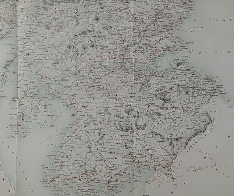 Scottish Large Original Antique Map of Scotland, circa 1870