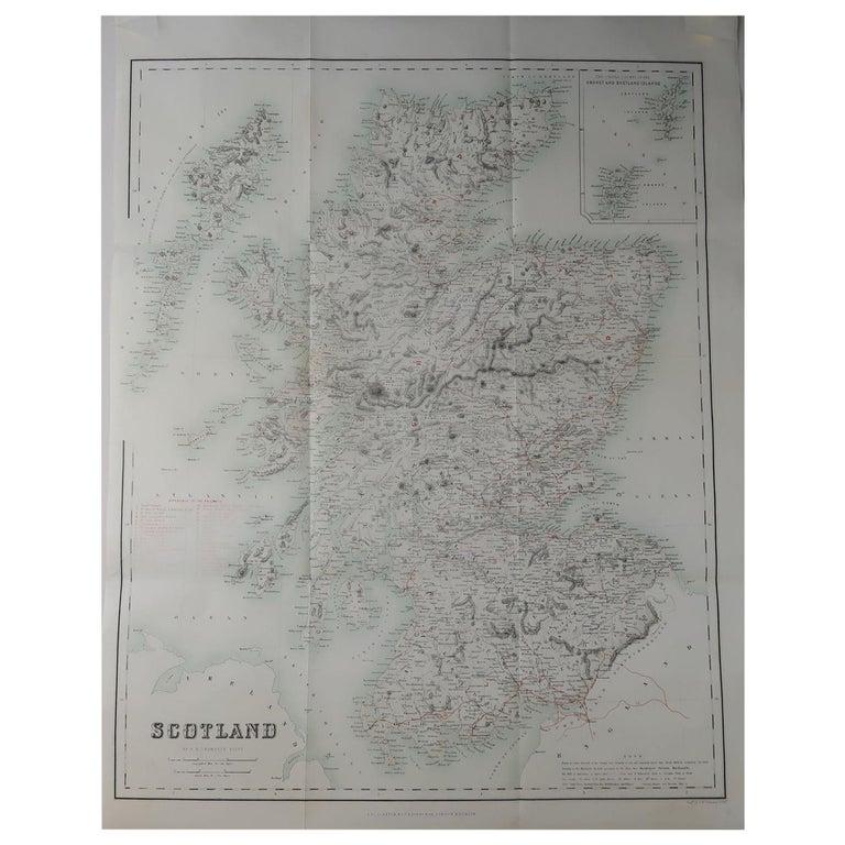 Large Original Antique Map of Scotland, circa 1870