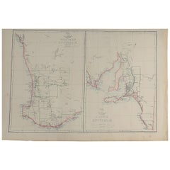 Large Original Antique Map of South and Western Australia, 1861