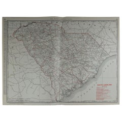 Large Original Antique Map of South Carolina by Rand McNally, circa 1900