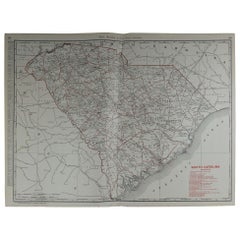Large Original Antique Map of South Carolina by Rand McNally, circa 1900
