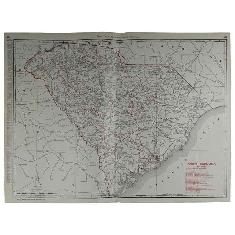 Large Original Antique Map of South Carolina by Rand McNally, circa 1900 For Sale