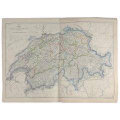 Large Original Antique Map of Switzerland, 1861