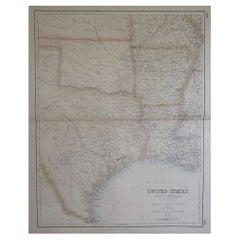 Large Original Antique Map of Texas, United States &c. Fullarton, C.1870