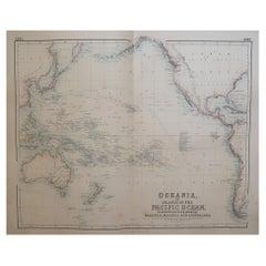 Large Original Antique Map of The Pacific Ocean, Fullarton, C.1870