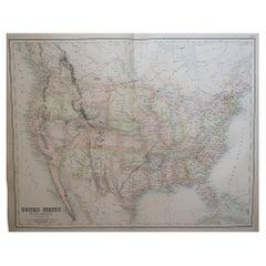 Large Original Antique Map of The United States of America, Fullarton, C.1870