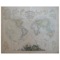 Large Original Antique Map of The World, Fullarton, C.1870