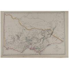 Large Original Antique Map of Victoria, Australia, 1861