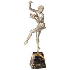 Large Original Art Deco Sculpture of a Dancer with a Marionette