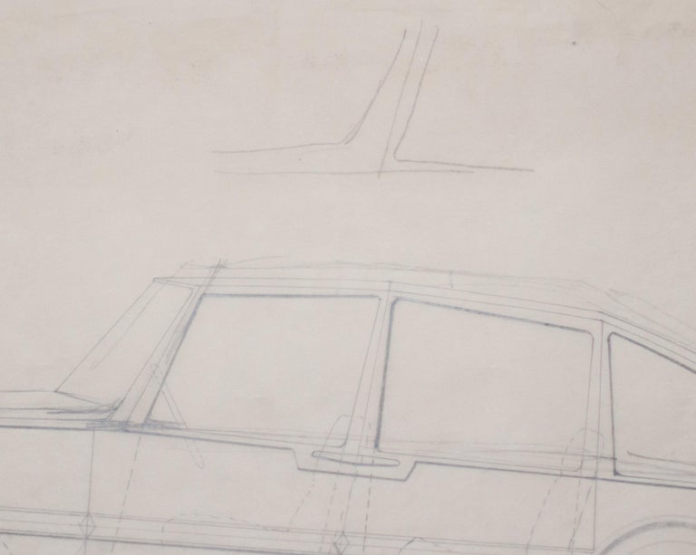 Mid-Century Modern Large Original Drawing by Gio Ponti for Touring Carrozzeria, Milan, 1952 For Sale