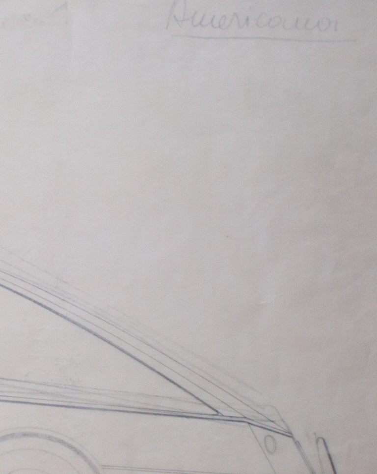 Italian Large Original Drawing by Gio Ponti for Touring Carrozzeria, Milan, 1952 For Sale
