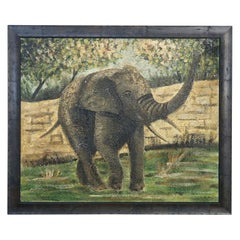 Large Original European Textured Painting of Elephant