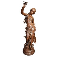 Large Original French 19th Century Spelter Sculpture by Auguste Moreau