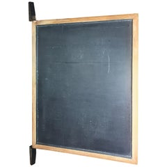 Large Original Industrial Antique Blackboard with Black Wooden Wall Attachment