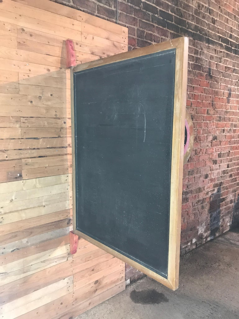 Mid-Century Modern Large Original Industrial Blackboard with wooden Wall Attachment For Sale