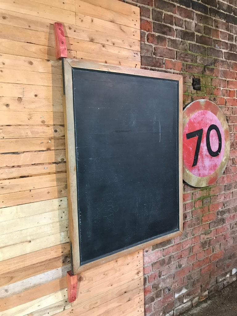 Belgian Large Original Industrial Blackboard with wooden Wall Attachment For Sale