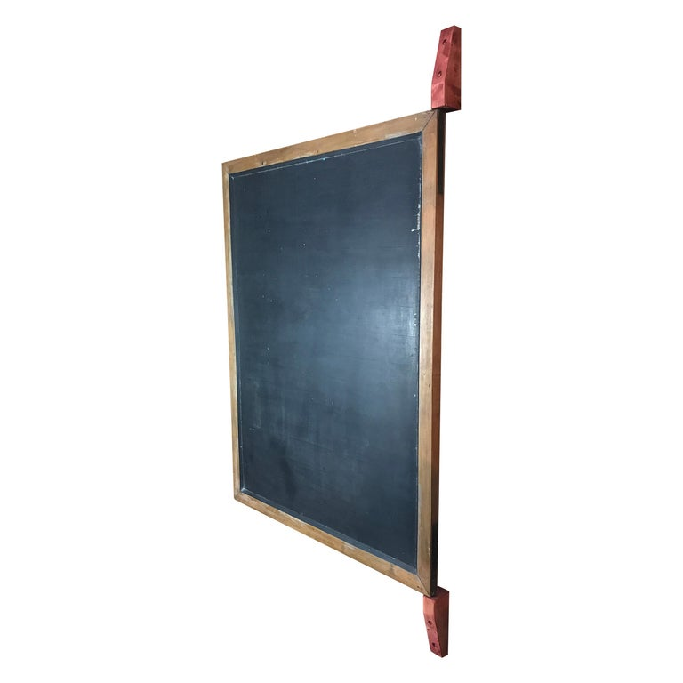 Large Original Industrial Blackboard with wooden Wall Attachment For Sale