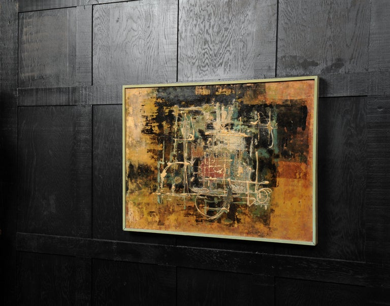 A stunning midcentury abstract oil on board by the listed artist William Ernst Burwell (1911-1974). It is beautifully painted with heavily applied textures of predominantly oranges and browns. It is in its original gallery frame of painted softwood