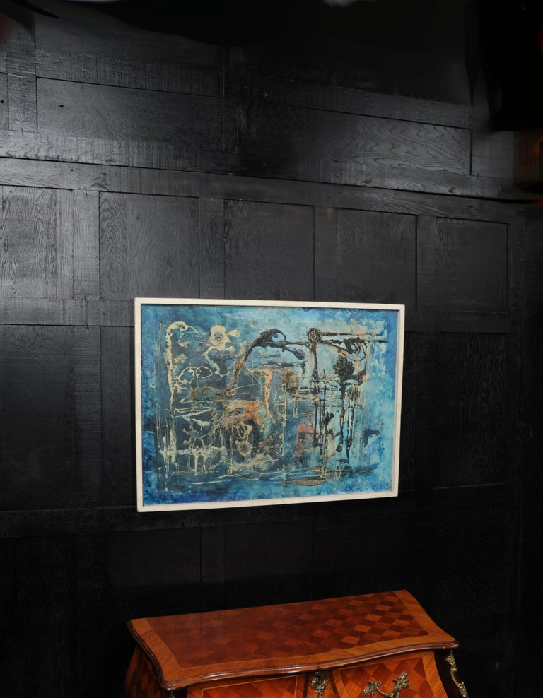 A stunning midcentury abstract oil on board by the listed artist William Ernst Burwell (1911-1974). It is entitled 'Water Symphony' and is beautifully painted with heavily applied textures of predominantly blues. It is in its original gallery frame