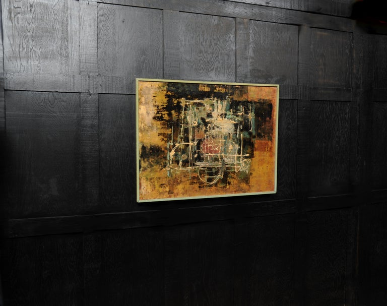 Large Original Midcentury Abstract Oil Painting by William Ernst Burwell, FRSA In Good Condition For Sale In Belper, Derbyshire