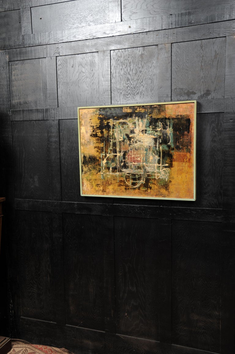 20th Century Large Original Midcentury Abstract Oil Painting by William Ernst Burwell, FRSA For Sale