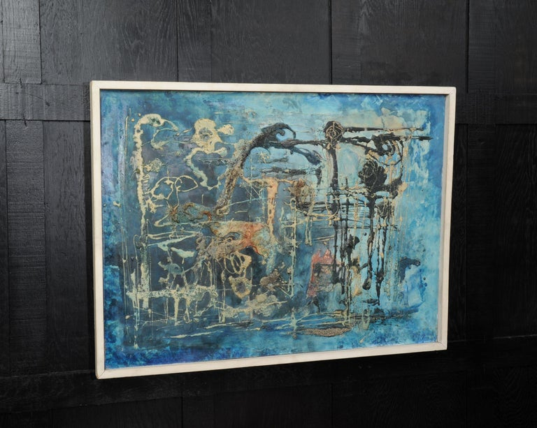 Large Original Midcentury Abstract Oil Painting by William Ernst Burwell, FRSA For Sale 1