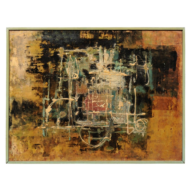 Large Original Midcentury Abstract Oil Painting by William Ernst Burwell, FRSA For Sale