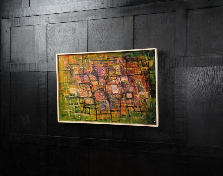 A stunning midcentury abstract oil on board by the listed artist William Ernst Burwell (1911-1974). Beautifully painted with heavily applied textures of predominantly greens and reds. It is in its original gallery frame of painted softwood. We have