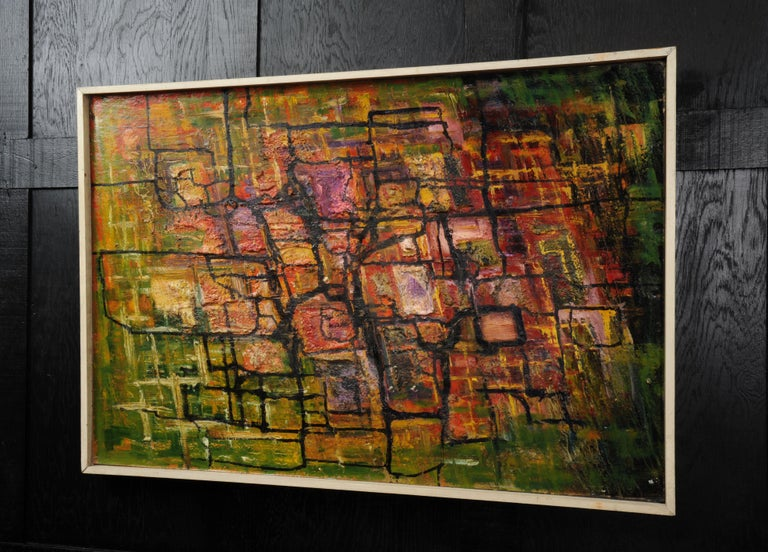 Mid-Century Modern Large Original Midcentury Abstract Oil Painting by William Ernst Burwell, FRSA For Sale