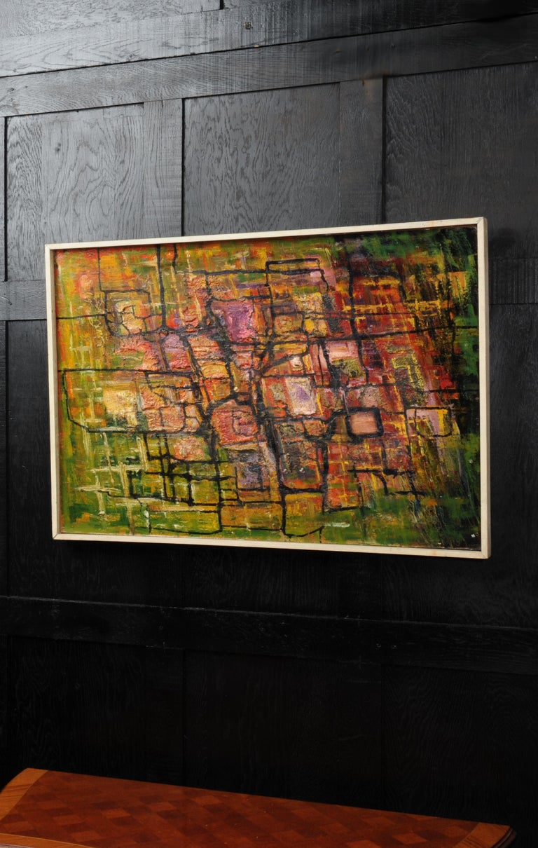 English Large Original Midcentury Abstract Oil Painting by William Ernst Burwell, FRSA For Sale