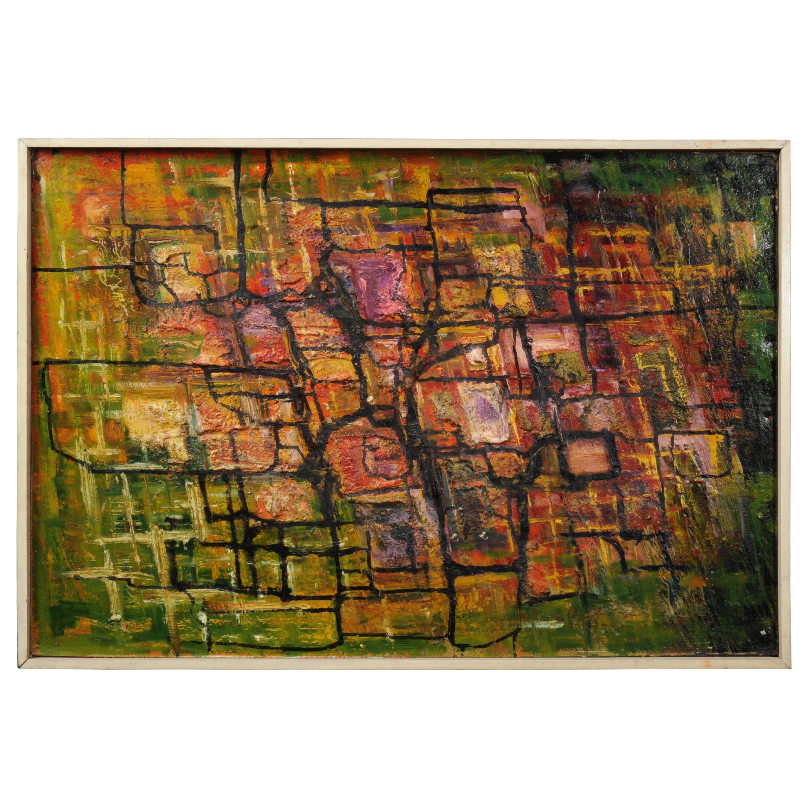 Large Original Midcentury Abstract Oil Painting by William Ernst Burwell, FRSA
